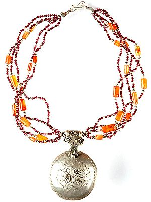 Garnet and Carnelian Beaded Necklace with Lotus Pendant
