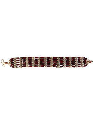 Garnet Five Layer Beaded Bracelet
