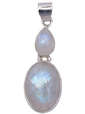 Embellished Cabochon and Tear-Drop Moonstones Pendant