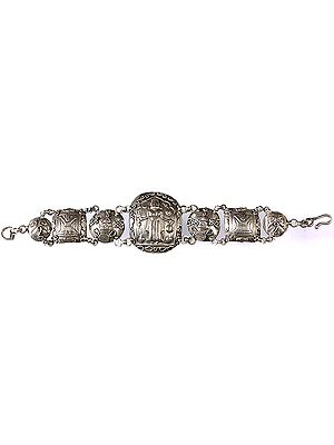 Silver Bracelet with Images of Mother Kali