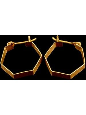 Gold Hexagonal Hoops