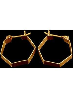 Gold Hexagonal Hoops