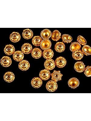 Gold Plated Caps with Knotted Rope (Price Per Six Pieces)
