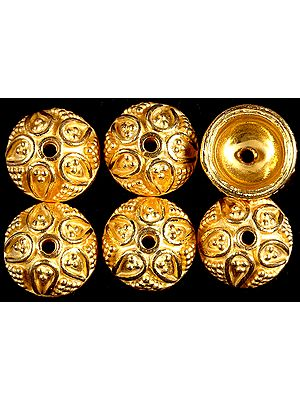 Gold Plated Floral Caps with Granulation (Price Per Pair)
