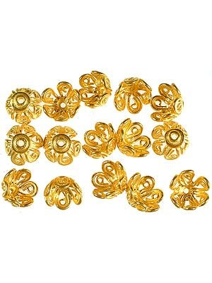 Gold Plated Floral Caps with Lattice (Price Per Pair)