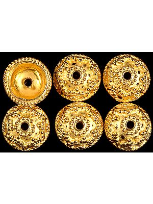 Gold Plated Granulated Caps with Knotted Rope (Price Per Pair)