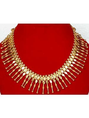 Gold Plated Spike Necklace with Mango Motifs