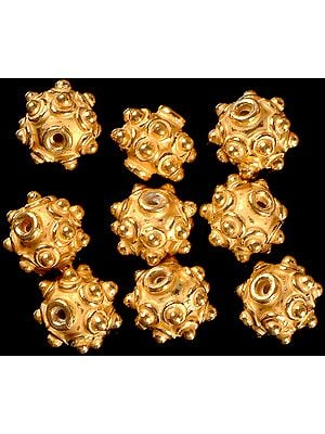 Gold Plated Spiked Beads (Price Per Pair)