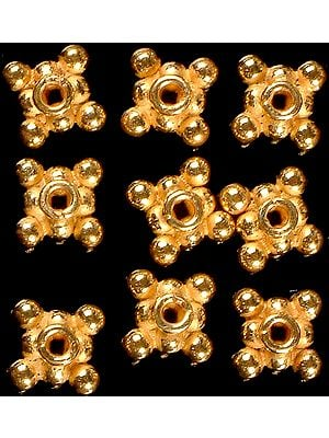 Gold Plated Square Beads (Price Per Pair)