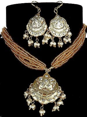 Golden Islamic Star and Moon Beaded Necklace with Earrings and Beaded Chain
