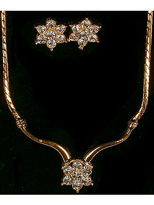 Golden Necklace with Cut Glass and Earrings