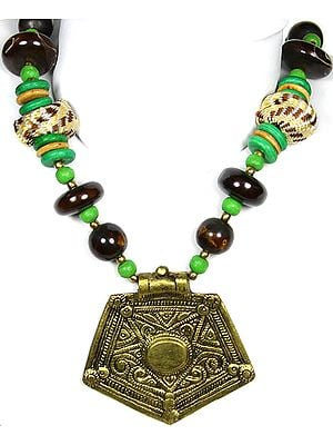 Green and Brown Beaded Necklace with Golden Metallic Pendant