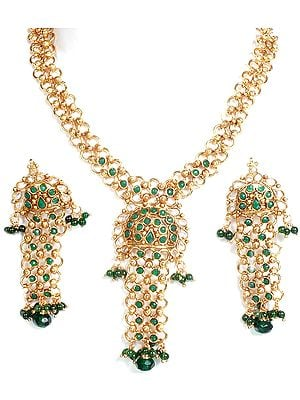 Green Linked Necklace and Earrings Set with Cut Glass