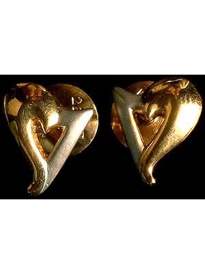 Handcrafted Frosted Gold Valentine Post Earrings