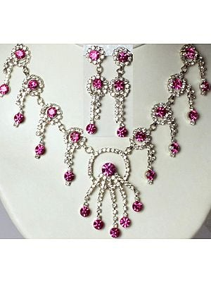 Hot-Pink Victorian Necklace and Earrings Set with Cut Glass