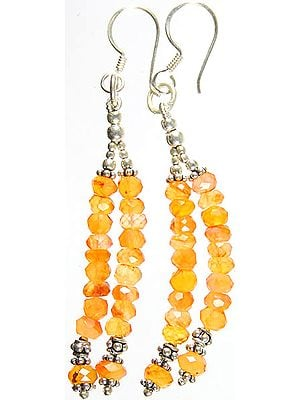 Israel Cut Carnelian Shower Earrings