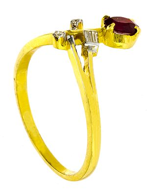 Faceted Pink Tourmaline Gold Ring with Diamonds