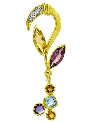 Designer Gold Pendant with Fine Cut Gemstones