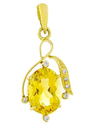 Designer Citrine Pendant with Diamonds