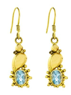 Faceted Blue Topaz Earrings