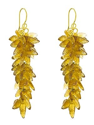 Carved Citrine Leaves Bunch Earrings