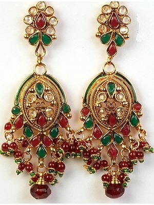 Polki Post Earrings with Faux Ruby and Emeralds
