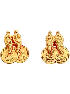 Goddess Lakshmi and Peacocks Stud Earrings (South Indian Temple Jewelry)