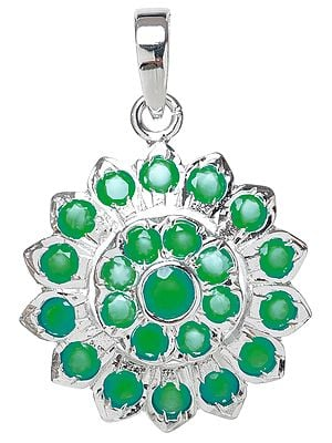 Faceted Green Onyx Flower Pendant