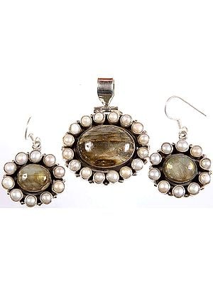 Labradorite and Pearl Pendant with Matching Earrings Set