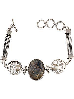 Labradorite Bracelet with Pearl