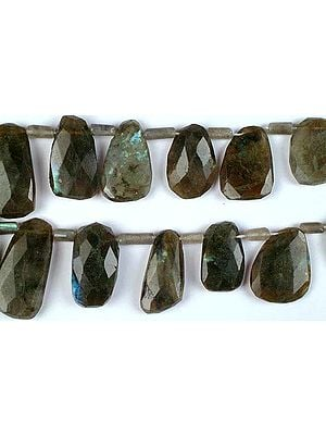 Labradorite Side-Drilled Faceted Tumbles with Tubes