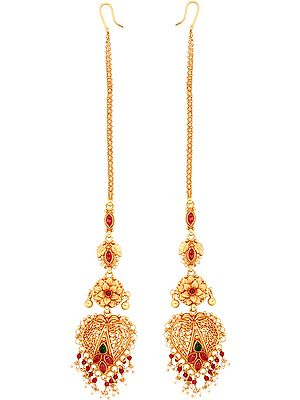 Coloured Glass- And Pearl-Embellished Danglers (South Indian Temple Jewellery)