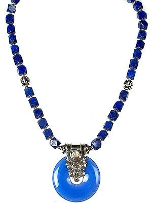 Lapis Lazuli Necklace with Blue Chalcedony Pendant