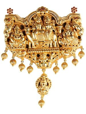 Chunky Shiva-parivar Pendant (South Indian Temple Jewellery)
