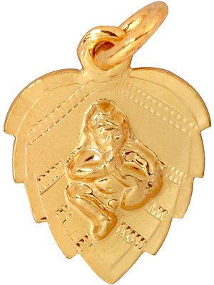 Pendant of Baby Krishna on Pipal Leaf Suckling His Toe