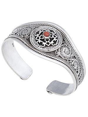 Mandala with Coral Cuff  Bracelet (Adjustable Size)