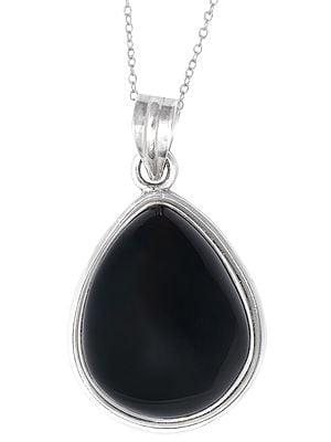 Drop Shaped Black Onyx Gemstone Studded Sterling Silver Pendant