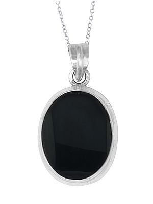 Large Oval Shaped Black Onyx in Sterling Silver Pendant