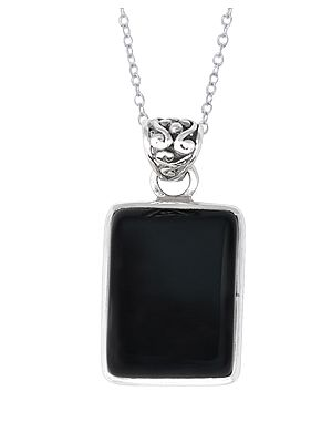 Square Shaped Black Onyx Studded Sterling Silver Pendant