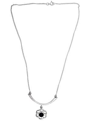 Sterling Silver Black-Onyx Stoned Necklace