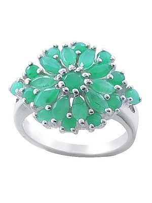 Sterling Silver Ring with Floral Emerald Stone