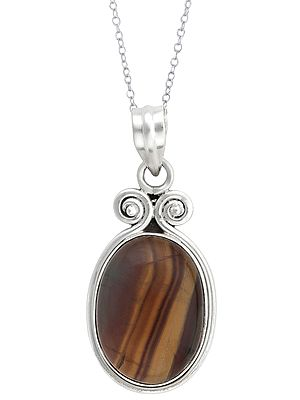 Oval Shaped Tiger Eye Stone in Sterling Silver Pendant