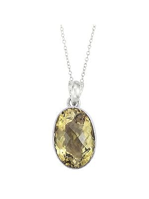 Faceted Sterling Silver Pendant Studded with Yellow Topaz Stone