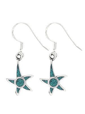 Star Shaped Sterling Silver Earrings Studded with Turquoise Stone