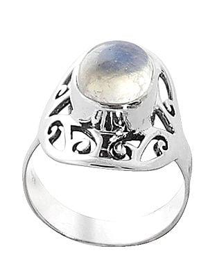 Rainbow Moonstone Studded Designer Sterling Silver Ring