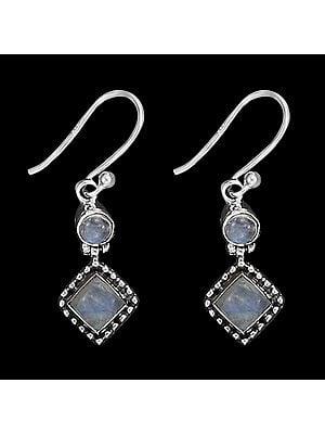 Rainbow Moonstone Studded Graceful Sterling Silver Earrings