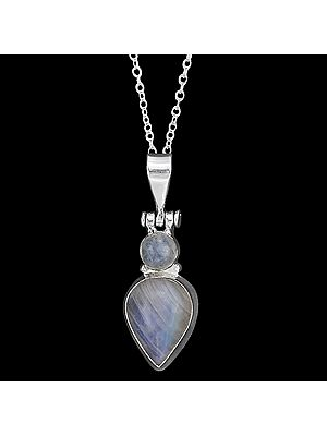 Beautifully Designed Sterling Silver Pendant with Rainbow Moonstone