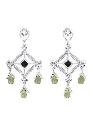 Sterling Silver Earrings Studded with Peridot and Smoky Quartz Stone