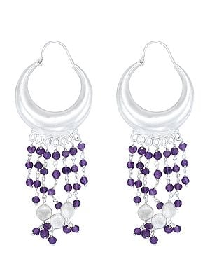 Long Size Sterling Silver Earrings with Bead Dangles