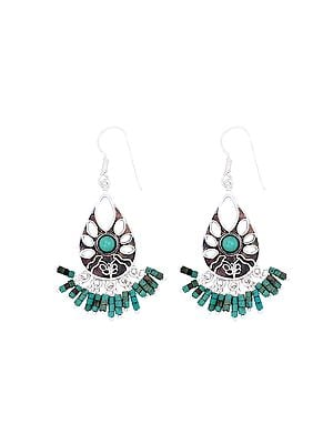 Sterling Silver Earrings with Turquoise Bead Dangles